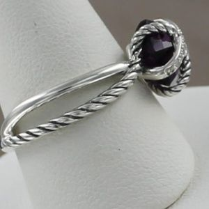 David Yurman Cable Wrap 925 Diamond Amethyst Ring
